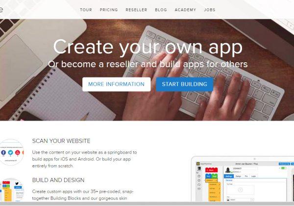 AppMachine è una piattaforma di sviluppo per app mobili, dove è possibile sviluppare la propria app gratuitamente e si paga solo quando la propria app viene pubblicata in uno store apple o android.