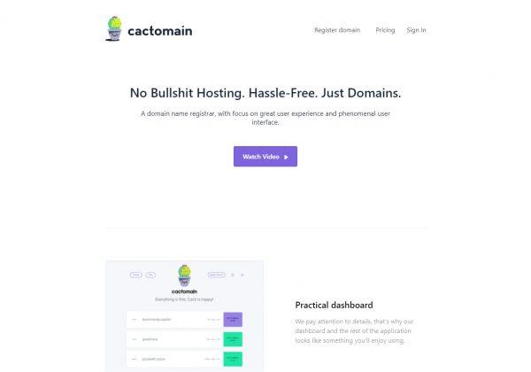 Registra il tuo dominio con Cactomain, facile da usare.