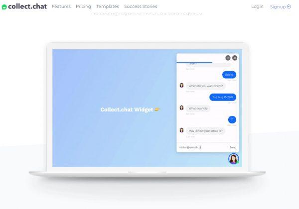 Collect Chat è un widget completamente automatizzato per il tuo sito web. Questo widget ti consente di raccogliere dati dai visitatori del tuo sito ponendo agli utenti domande preinserite da te.