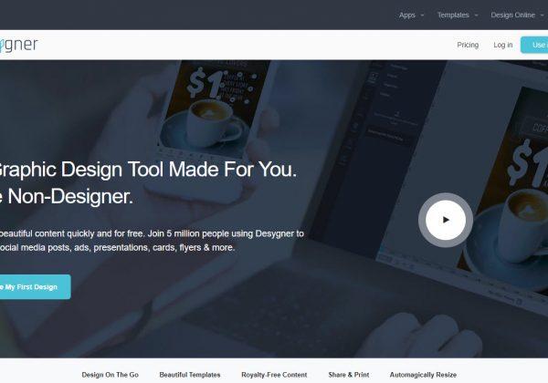 Un altro editor online di foto che può essere utilizzato gratuitamente, Desygner.