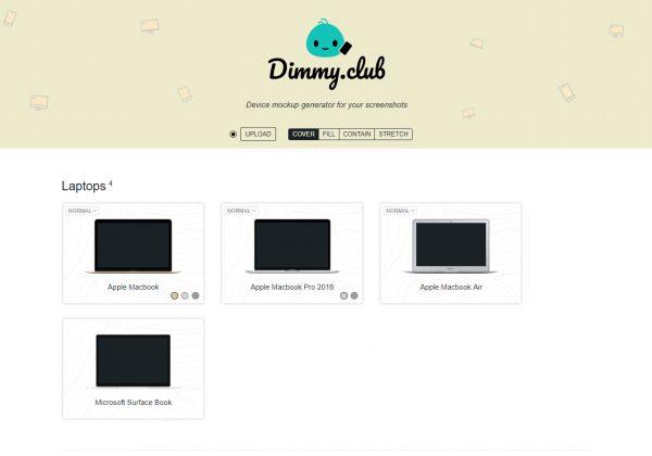 Dimmy club ti permette di creare e scaricare gratuitamente mockup.