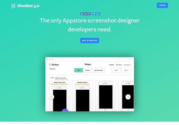 Shotbot è un generatore di screenshot per applicazioni iOS e Android. Può creare screenshot per iPad, iPhone e schermate Android che Apple e Google richiedono per i loro app store.