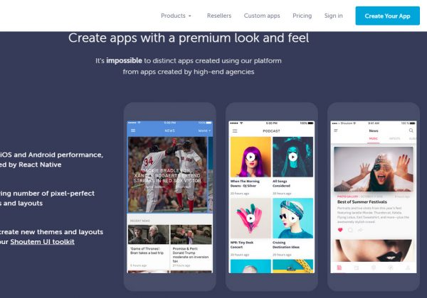 Shoutem è una piattaforma di sviluppo per app, premium.