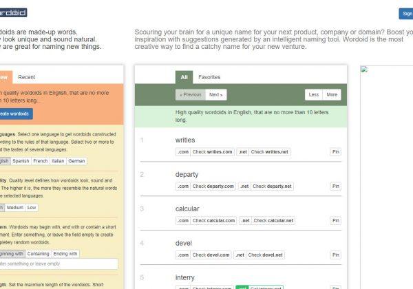 Sito internet che aiuta a trovare il nome perfetto per la tua startup, prodotto, sito internet ed altro ancora.