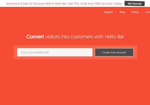 Hello Bar è uno strumento di generazione di lead incredibilmente semplice e fornisce un'alternativa meno intrusiva rispetto al tipico popup.