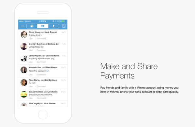 Venmo, applicazione simile a Google Pay o Apple Pay che funziona con il sistema peer-to-peer.