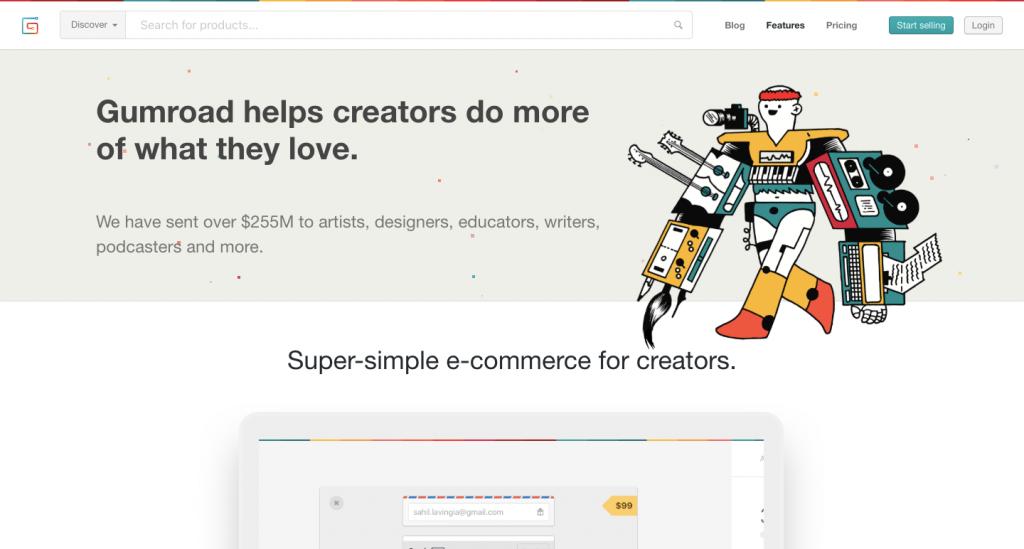 Gumroad è un e-commerce per artisti che aspirano a diventare impreditori.