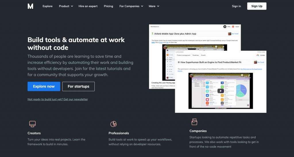 Makerpad permette di apprendere l'uso di strumenti senza codice.