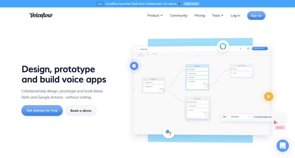 Voiceflow è una piattaforma che aiuta a programmare senza codice sulle app vocali.