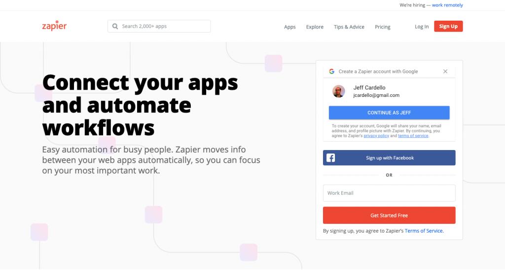 Zapier è una piattaforma che consente di collegare diverse piattaforme per app in un unico posto.