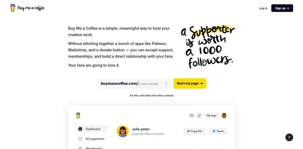 Buy Me A Coffee, piattaforma su come ricevere pagamenti online senza dover programmare.