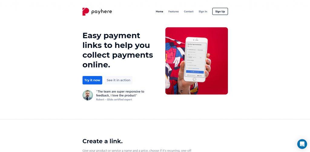 Payhere che aiuta agli utenti a creare una pagina per ricevere pagamenti senza saper programmare.