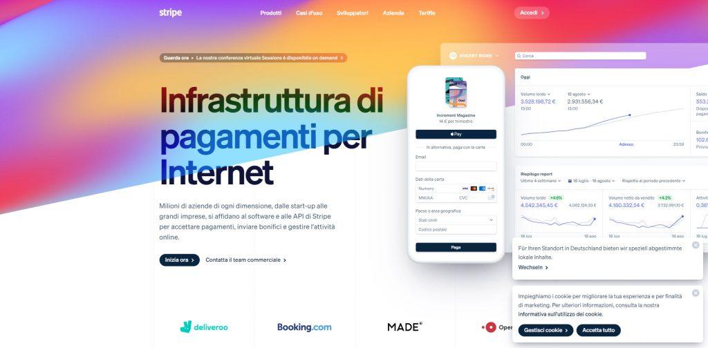 Stripe, è una piattaforma online che aiuta a ricevere pagamenti online senza saper programmare.