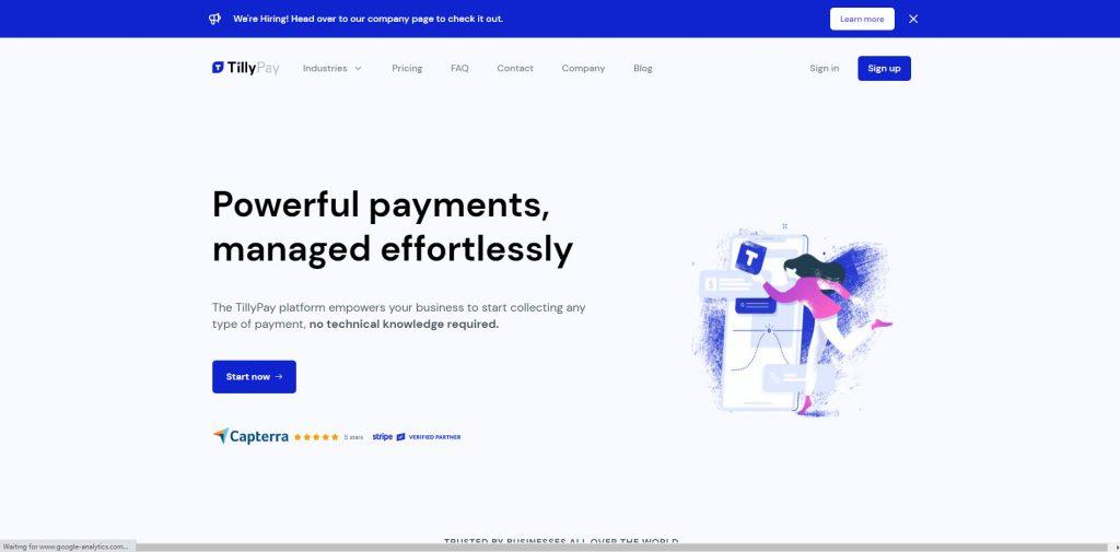 TillyPay permette ai propri utenti di ricevere pagamenti on line senza dover programmare.